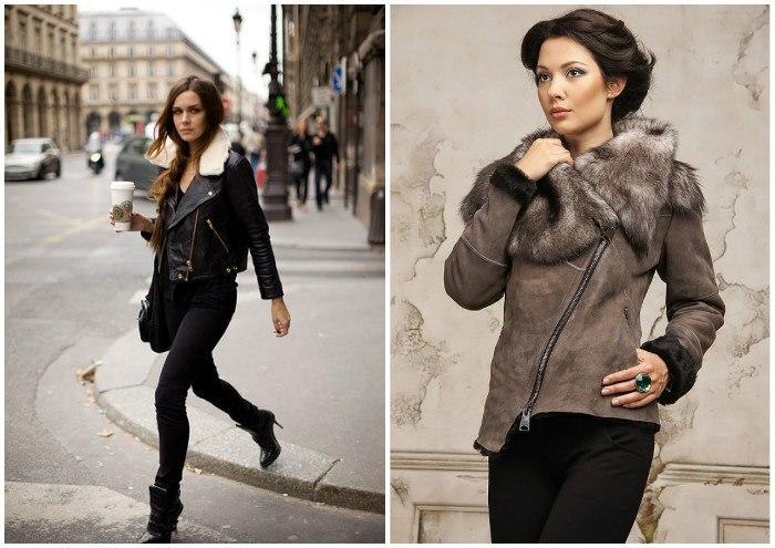 Стильные куртки-косухи с мехом