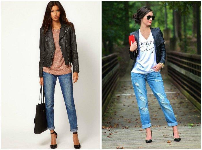 Озорной образ куртки-косухи с джинсами-бойфрендами