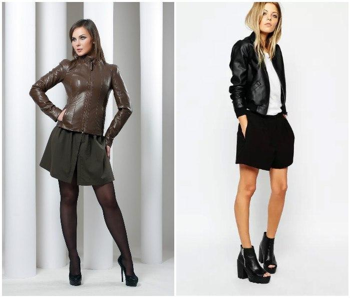 Образ с короткой юбкой и кожаной курткой