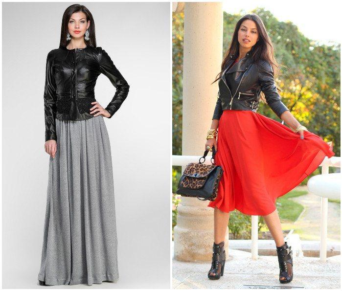 Романтичный образ юбки с кожаной курткой