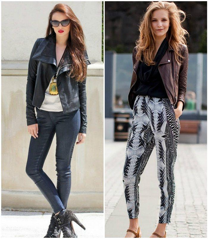 Образ с брюками и джинсовой курткой