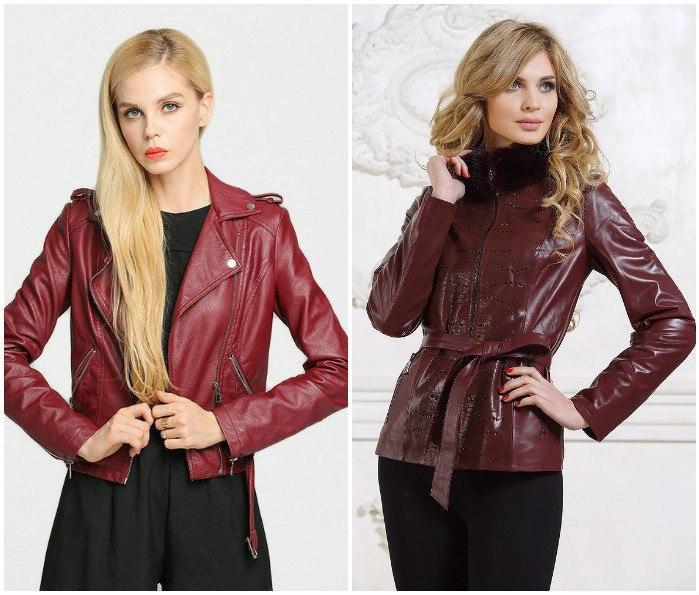 Образ с кожаной курткой цвета бордо