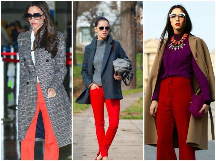 Пальто в сочетании с красными штанами