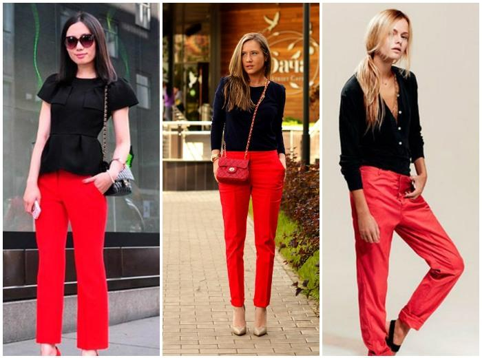 Образ с красными штанами и черной блузкой