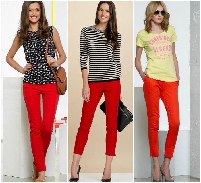 Укороченные красные штаны на моделях