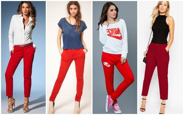 Модные луки с красными штанами