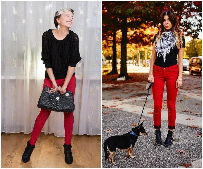 Красные штаны с черным верхом