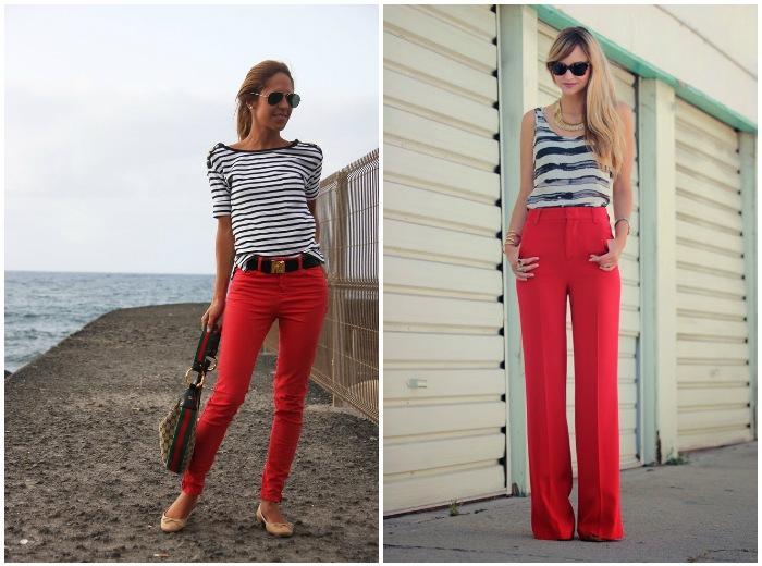 Летний образ с красными штанами