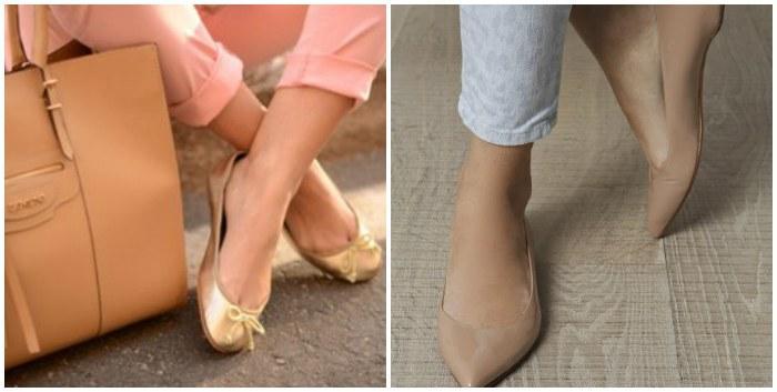 Бежевые балетки на ноге