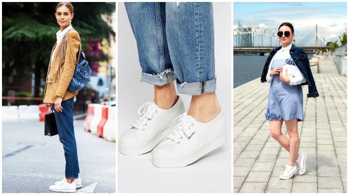 Модные кеды на платформе белого цвета