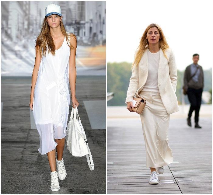 Белые кеды с одеждой светлых тонов