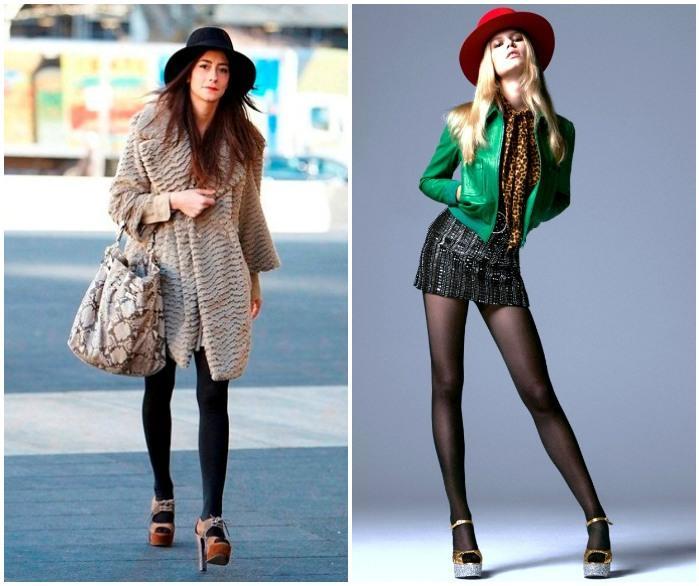 Образ с босоножками и колготками на моделях