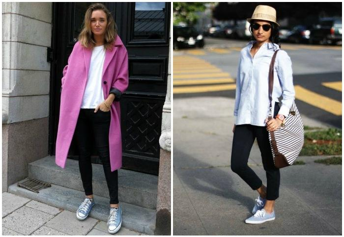 Модные луки с джинсовыми кедами