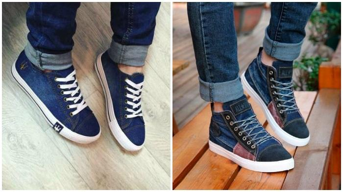 Темные джинсовые кеды для повседневной носки