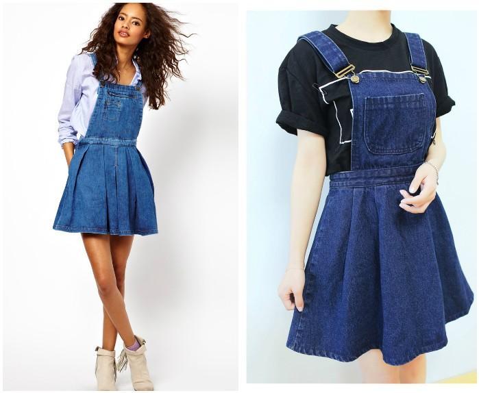 Джинсовая юбка-комбинезон на модели