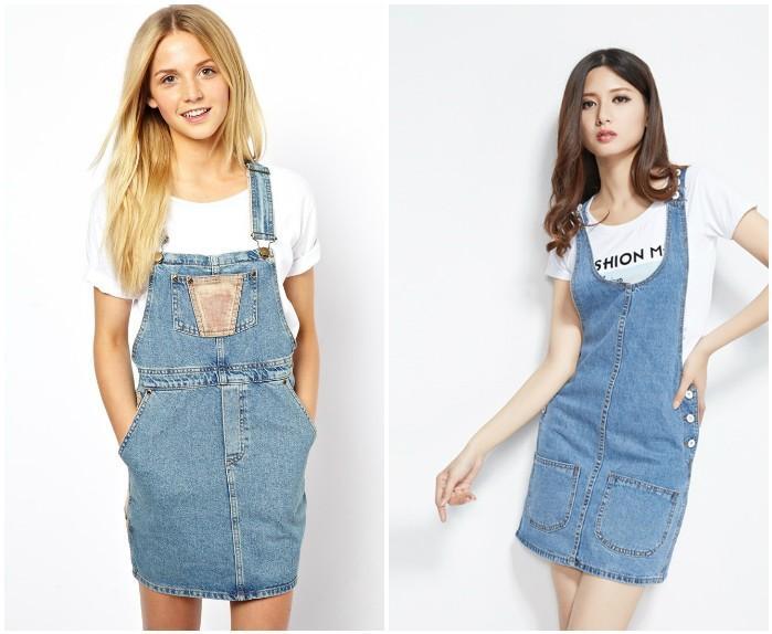 Светлая юбка-комбинезон из джинсы