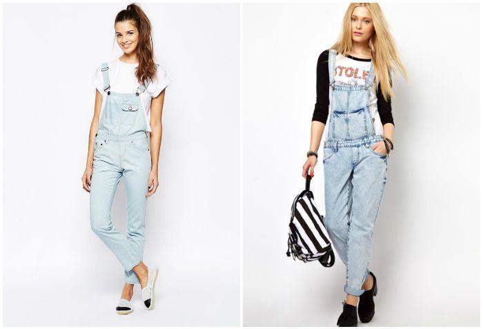 Светлый джинсовый комбинезон на моделях