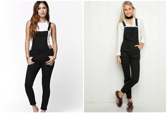 Черный джинсовый комбинезон на моделях