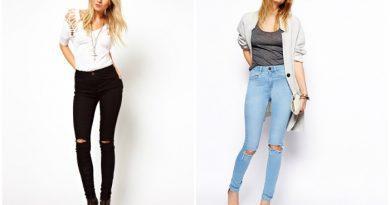 Порванные джинсы с завышенной талией на моделях