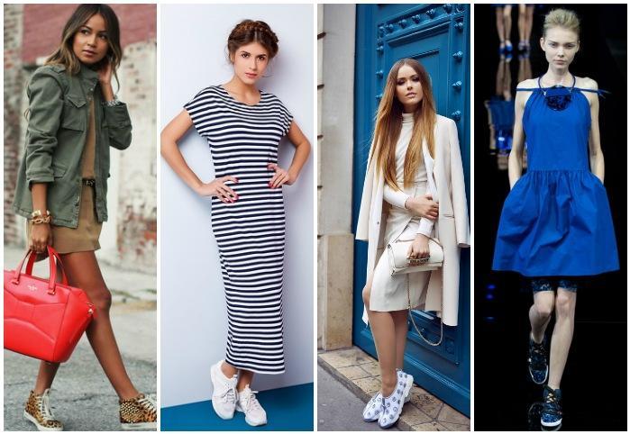 Образы платья с кроссовками