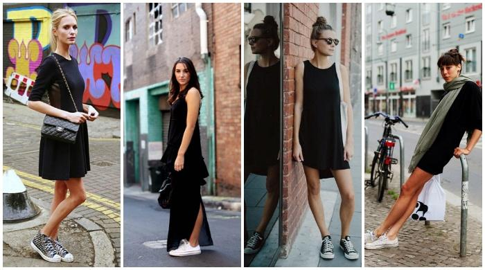 Образ с черным платьем и кедами