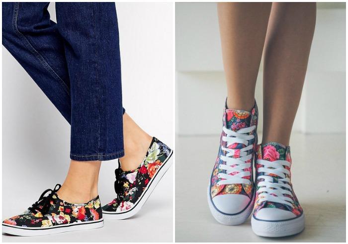 Кеды с цветочным принтом на ноге