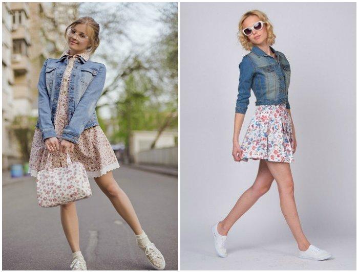 Кеды в цветочек м нежным платьем и джинсовой курткой
