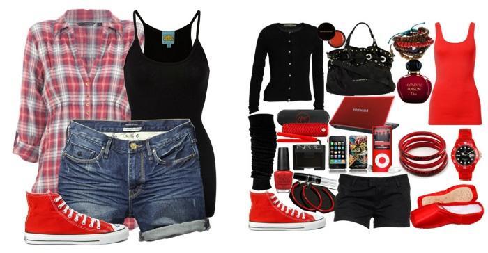 Образы с красными кедами и шортами