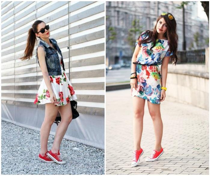 Образ с красными кедами и цветастым платьем