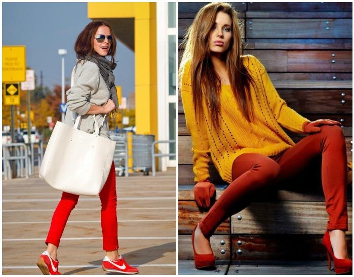 Образы с красными брюками
