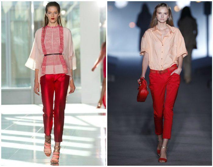 Красные брюки на подиуме