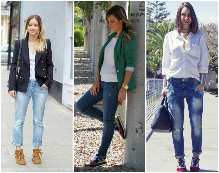 Сочетание кроссовок с джинсами
