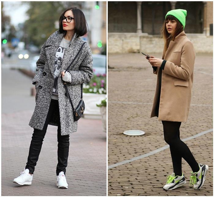Сочетание кроссовок с пальто оверсайз