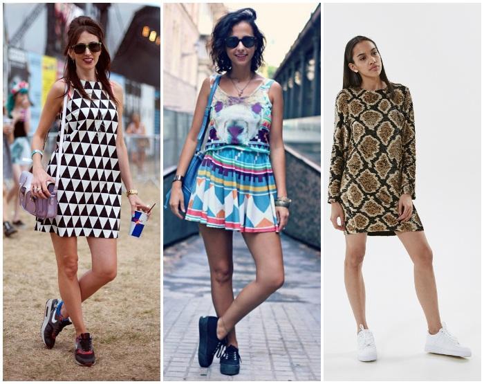 Сочетание кроссовок с платьем