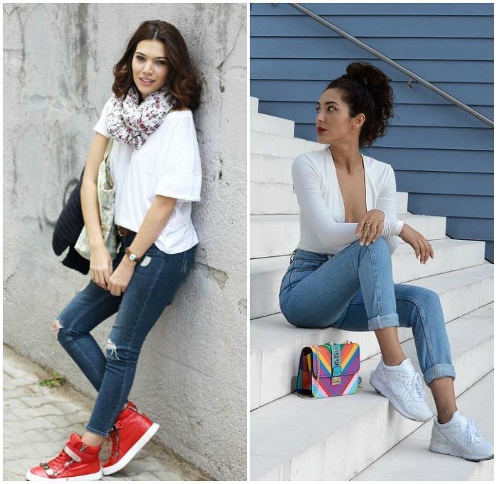 Повседневный образ с кроссовками и джинсами