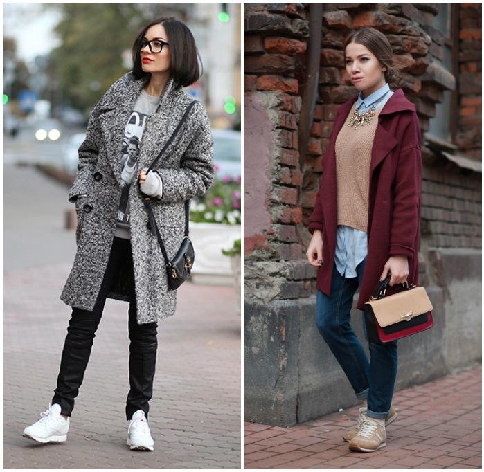 Повседневный образ с кроссовками и пальто