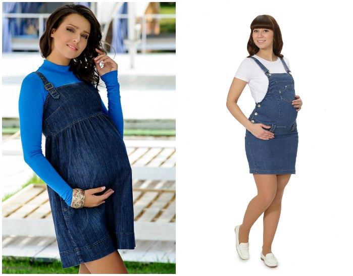 Джинсовые сарафаны для беременных