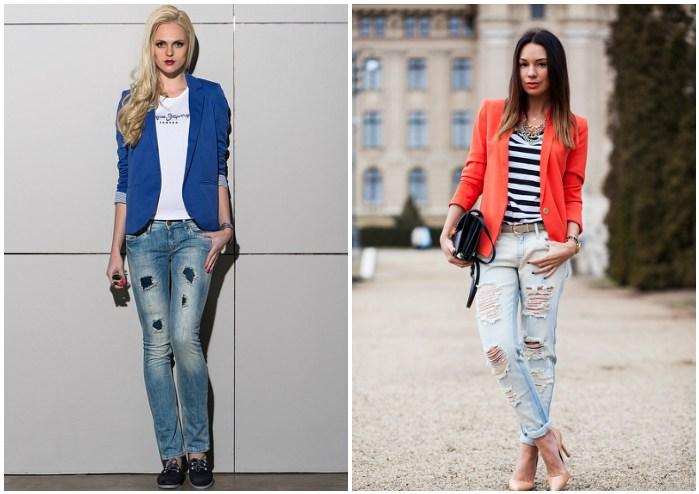Яркий пиджак с рваными джинсами для девушек