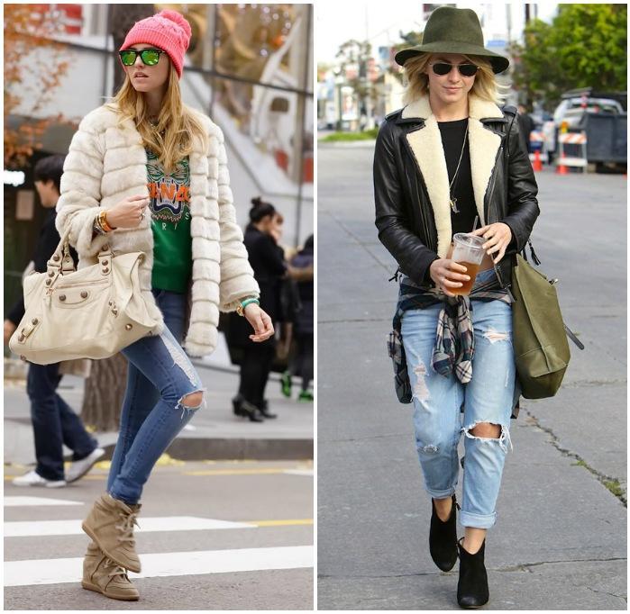 Модный сет с рваными джинсами