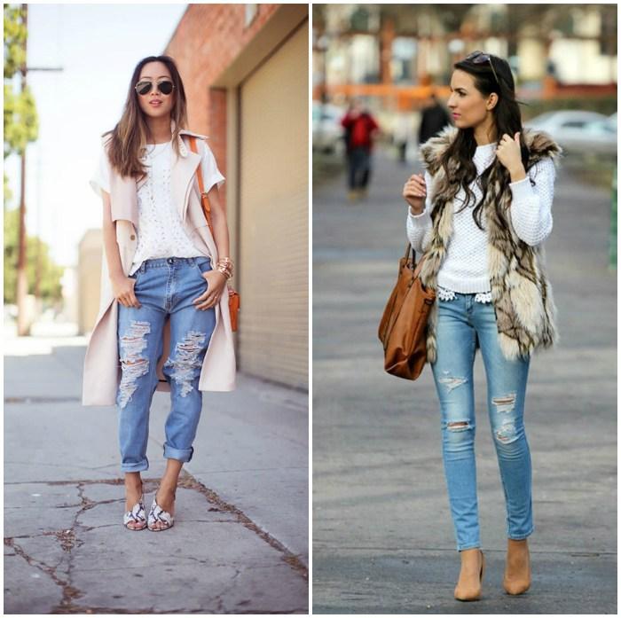 Образ с рваными джинсами для улицы