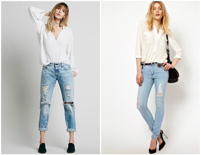 Рваные джинсы с белой блузкой