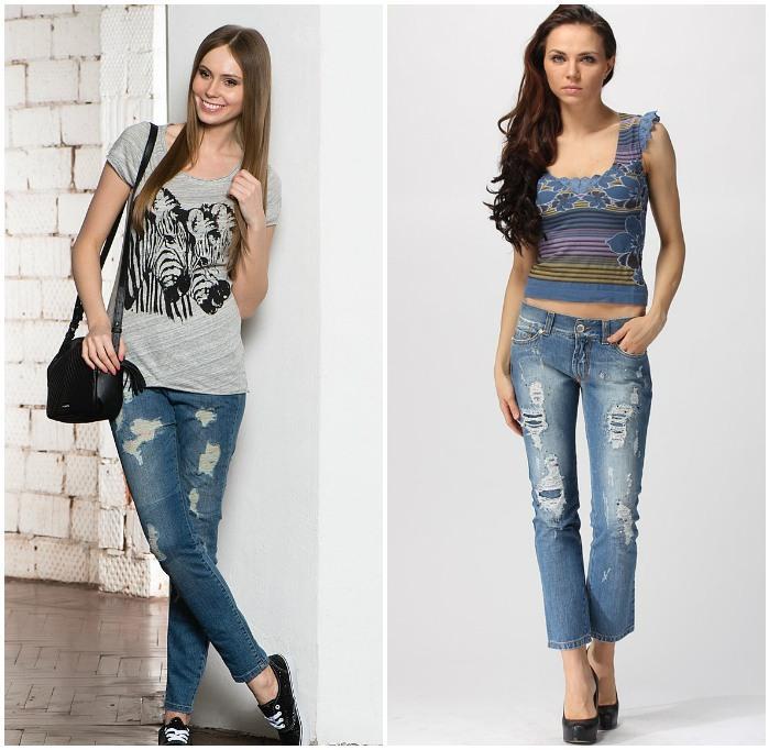 Повседневный стиль с рваными джинсами на моделях
