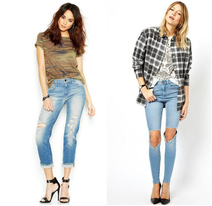 Сочетание рваных джинс с туфлями на каблуках