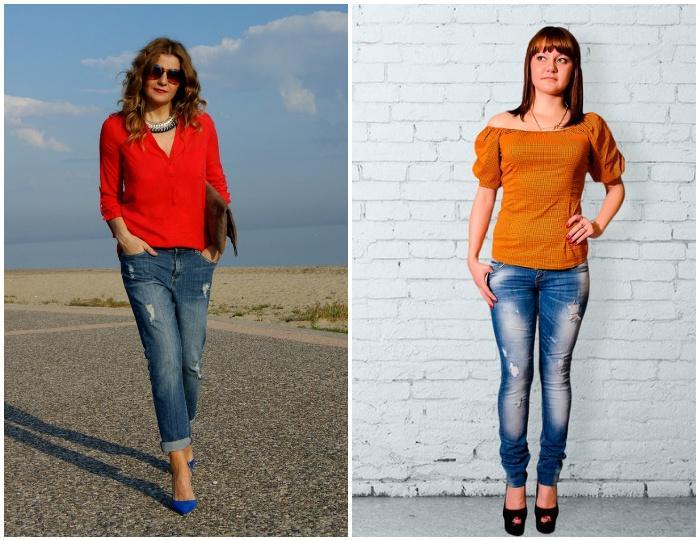 Яркий образ с рваными джинсами