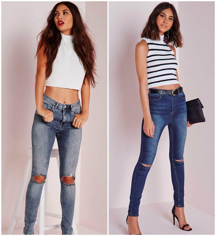 Сочетание рваных джинсов с топом
