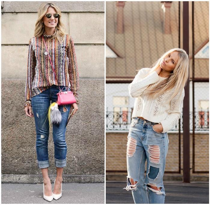 Дерзкий образ с рваными джинсами на девушках