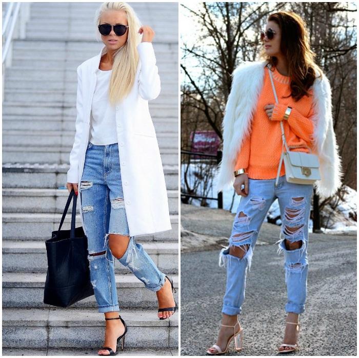 Белый пиджак и рваные джинсы на моделях