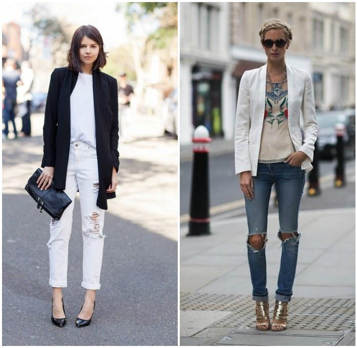 Рваные джинсы с декоративной дыркой на коленях
