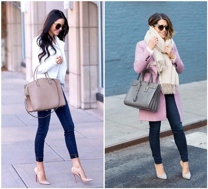 Сочетание белых туфель с сумками