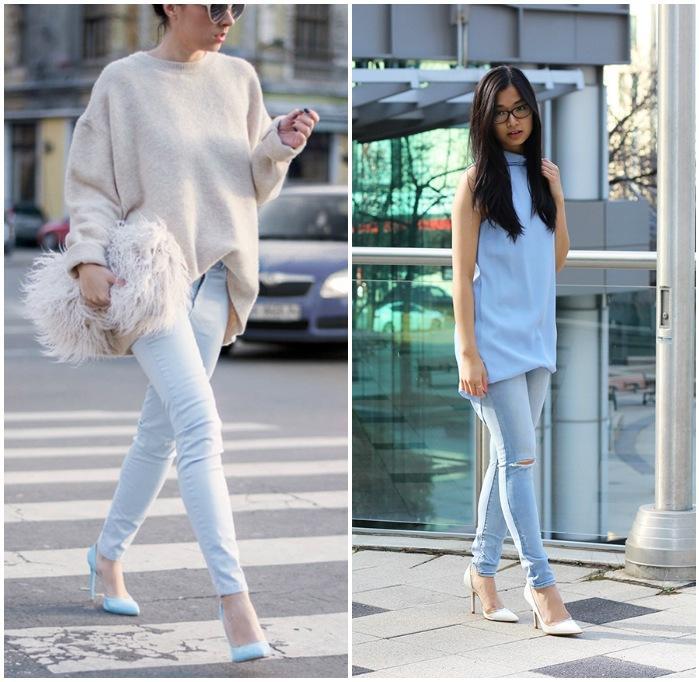 Сочетание белых туфель со светлыми брюками